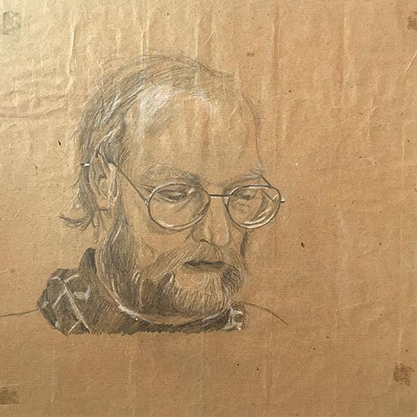 Lehrer Bexten, 1988, Bleistift und Buntstift auf Packpapier, 35 x 37 cm